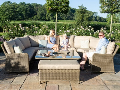 Product photograph showing Winchester Royal U-shaped Sofa Set With Ice Bucket Rising Table
