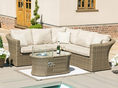 Product photograph showing Winchester Small Corner Sofa Set With Fire Pit