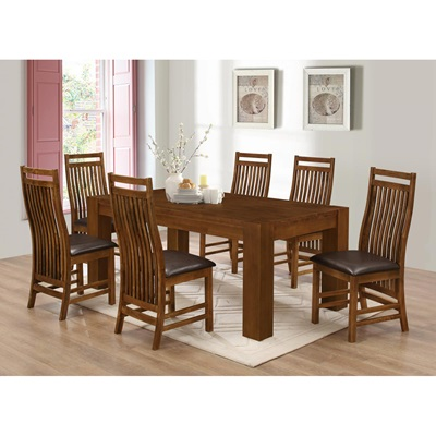 Product photograph showing Yaxley Dining Set With 6 Chairs Rustic Oak