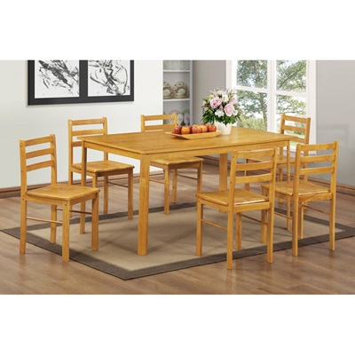 Product photograph showing York Large Dining Set With 6 Chairs Natural Oak