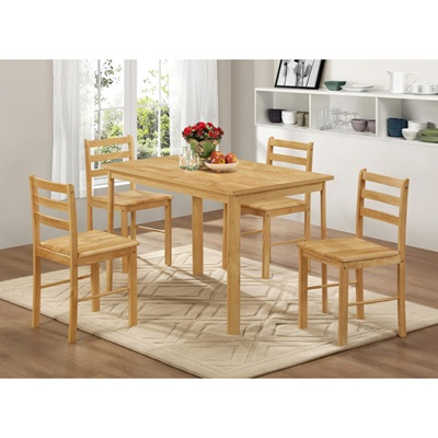 Product photograph showing York Medium Dining Set With 4 Chairs Natural Oak