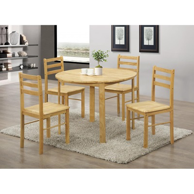 Product photograph showing York Round Dining Set With 4 Chairs Natural Oak