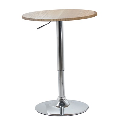 Product photograph showing Zen Bar Table Natural Top With Chrome Base