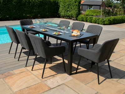 Product photograph showing Zest 8 Seat Rectangular Fire Pit Dining Set