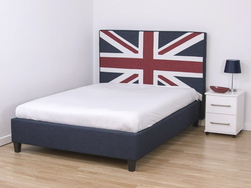 Snuggle Beds Union Jack Bed 4\' 6 Double Fabric Bed Image0 Image