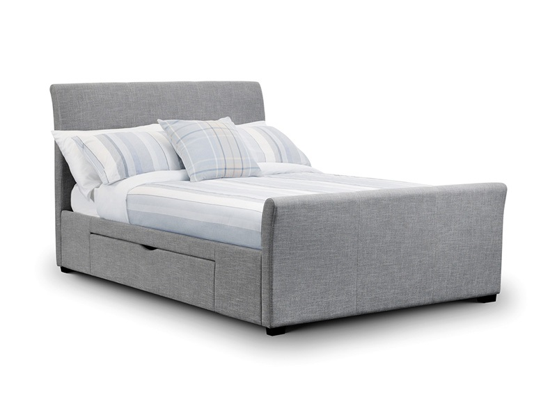 Julian Bowen Capri Bed with 2 Underbed Storage Drawers 5\' King Size Light Grey 2 Drawer Fabric Bed Image0 Image