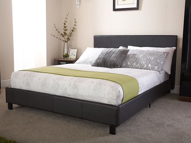 GFW Bed in a Box 3\' Single Black Faux Leather Bed Image0 Image