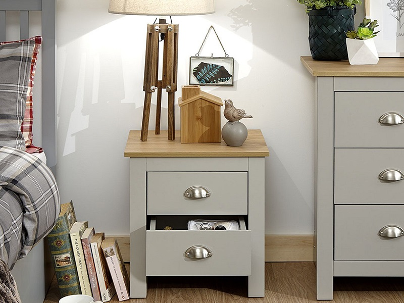 GFW Lancaster 2 Drawer Bedside Chest Paint Grey Bedside Chest Image0 Image
