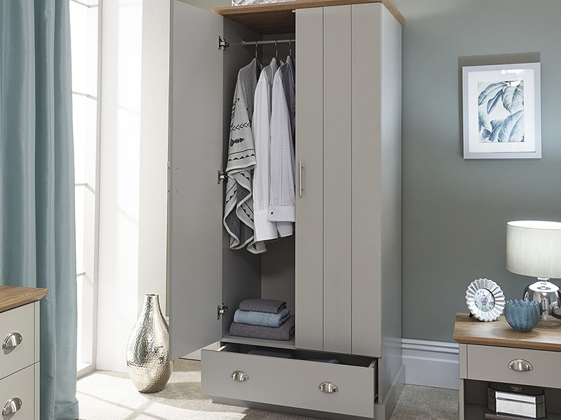 GFW Kendal 2 Door 1 Drawer Wardrobe Paint Grey Wardrobe Image0 Image