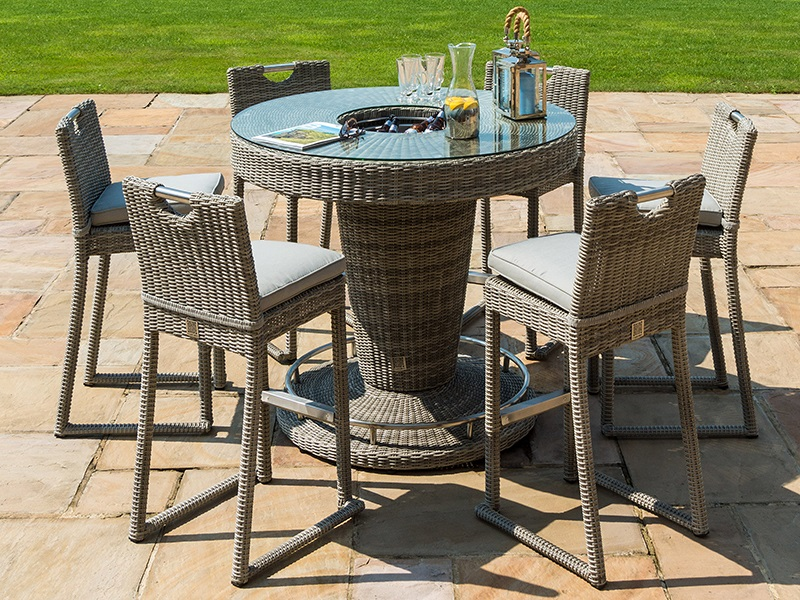 Maze Rattan Oxford 6 Seat Round Bar Set with Ice Bucket Bar Set Image0 Image