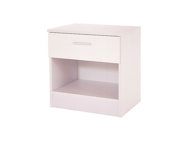 GFW Ottawa 1 Drawer Bedside Table White Gloss and White Bedside Chest Image0 Image