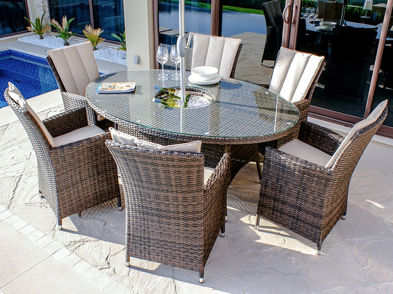 Maze Rattan LA 6 Seat Oval Ice Bucket Dining Set with Lazy Susan Brown Rattan Dining Set Image0 Image