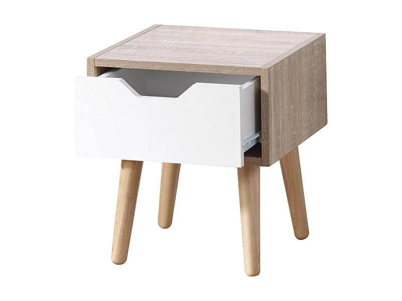 GFW Stockholm 1 Drawer Nightstand White Gloss and Oak Bedside Chest Image0 Image
