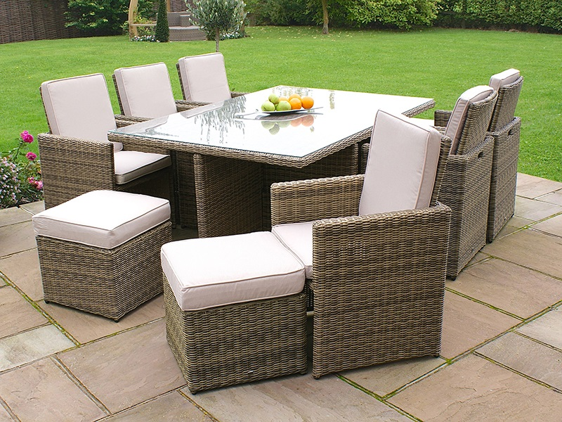 Maze Rattan Winchester 7 Piece Cube Set with Footstools Outdoor and Garden Image0 Image