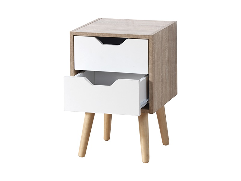 GFW Stockholm 2 Drawer Nightstand White Gloss and Oak Bedside Chest Image0 Image