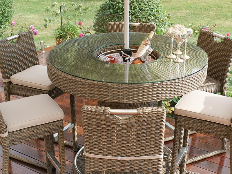 Maze Rattan Winchester 6 Seat Round Bar Set with Ice Bucket Bar Set Image0 Image