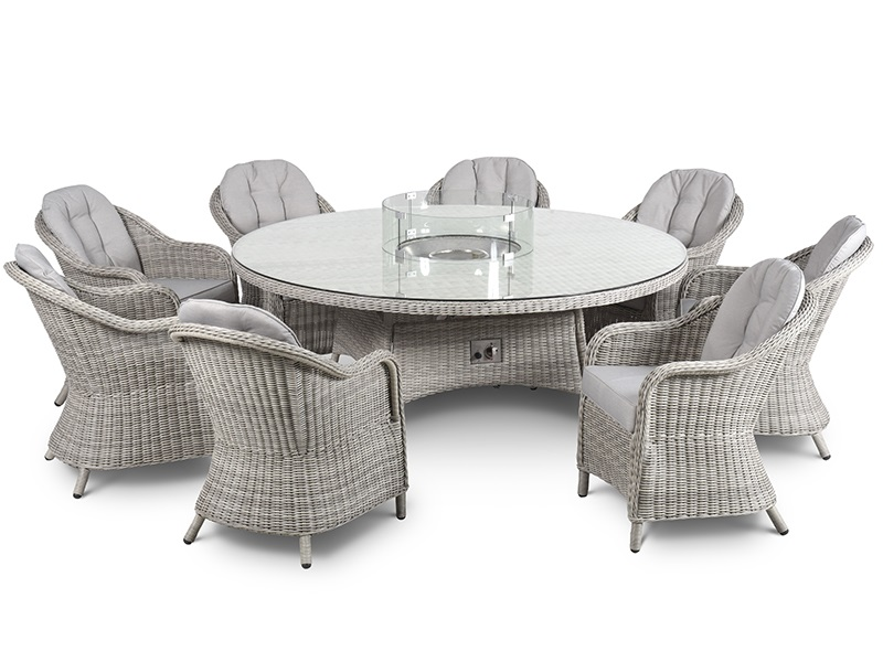 Maze Rattan Oxford 8 Seat Round Fire Pit Dining Set with Heritage Chairs and Lazy Susan Dining Set Image0 Image