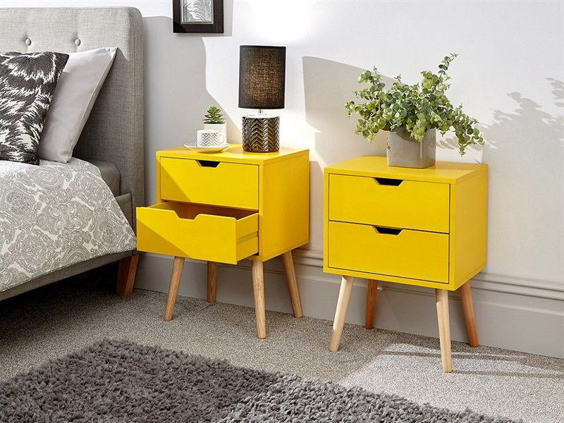 GFW Nyborg 2 Drawer Bedside Pair Yellow Bedside Chest Image0 Image