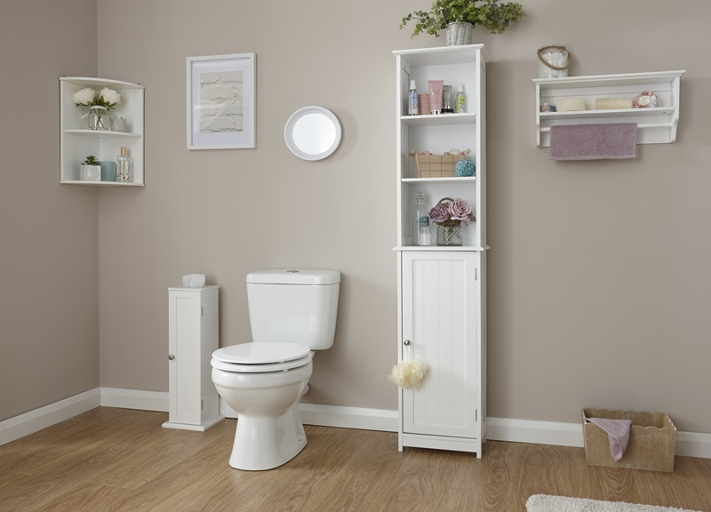 GFW Colonial Tall Cupboard White Bathroom Cabinet Image0 Image