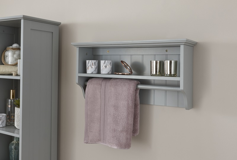 GFW Colonial Towel Rail Shelf GFW Grey Bathroom Shelve Image0 Image