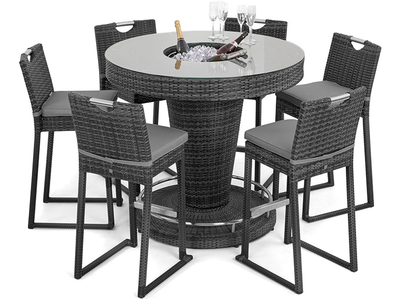 Maze Rattan 6 Seat Round Bar Set with Ice Bucket Grey Rattan Bar Set Image0 Image