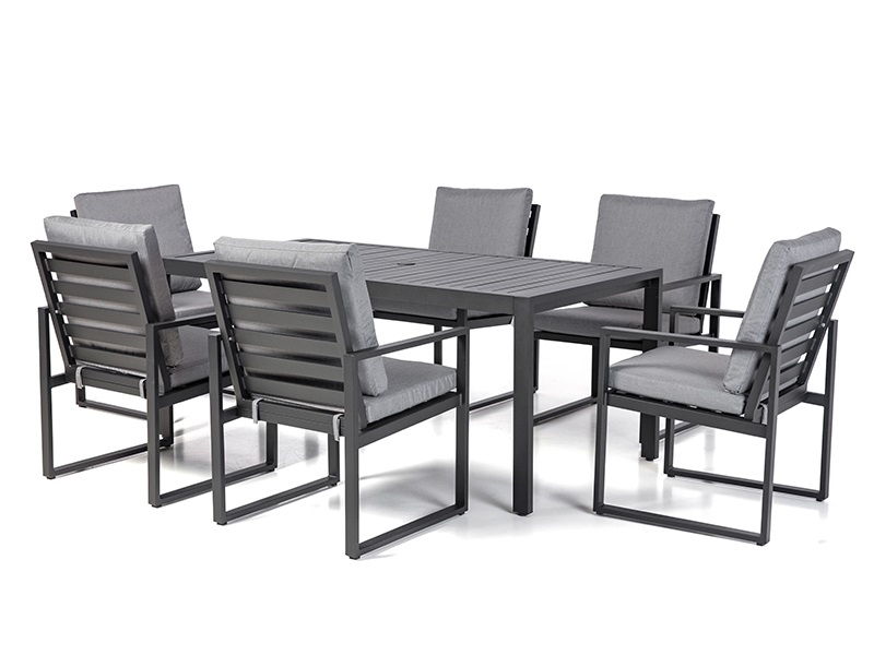 Amalfi 6 Seat Rectangular Dining Set with Slatted Chair Main Image