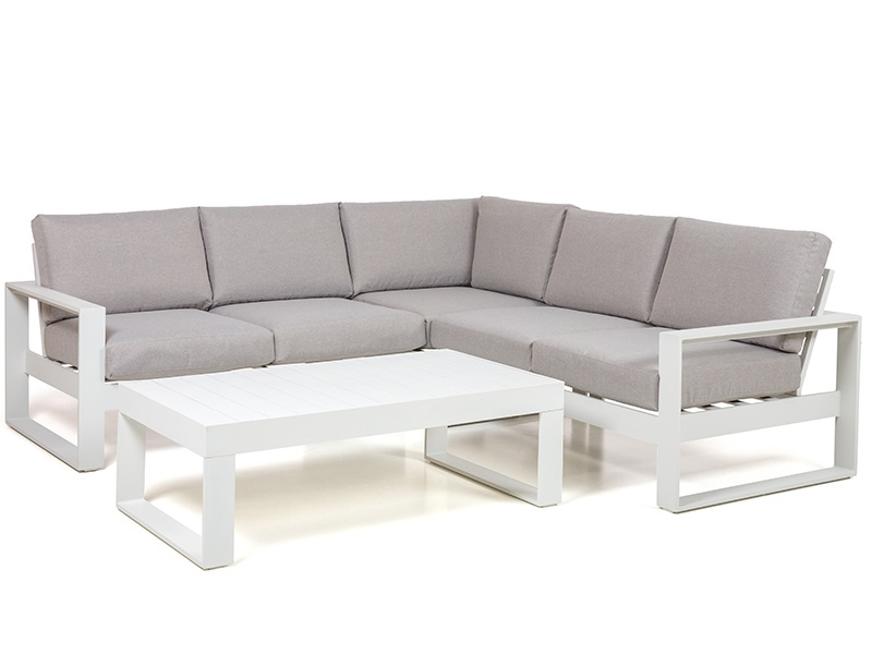 Maze Rattan Amalfi Small Corner Group White Corner Sofa set Image0 Image