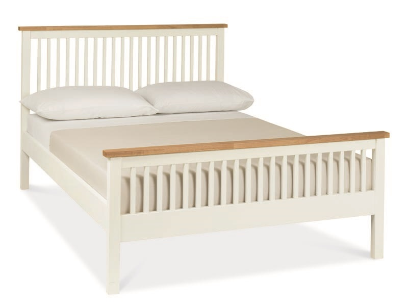 Bentley Designs Atlanta Two-Tone High Foot End 3\' Single Oak and White Slatted Bedstead Wooden Bed Image0 Image