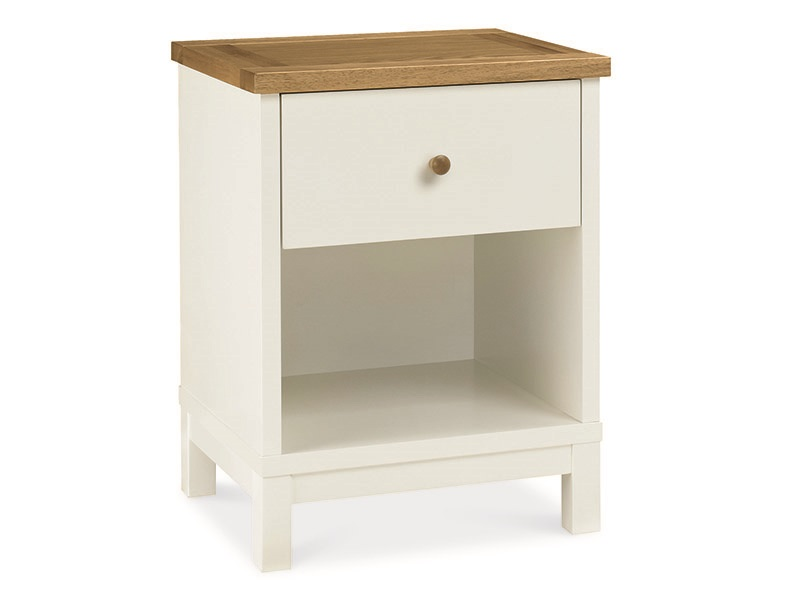 Bentley Designs Atlanta Two Tone 1 Drawer Nightstand Oak and White Bedside Chest Image0 Image
