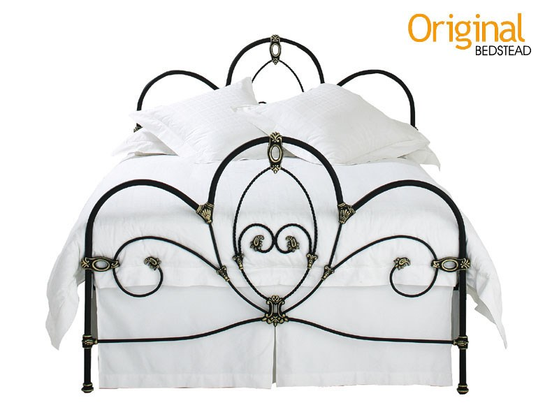 Original Bedstead Co Ballina 4\' 6 Double Texture Ivory Gold Highlights Headboard Only Metal Headboard Image0 Image