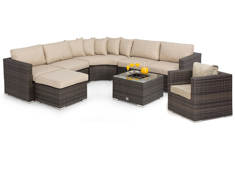 Maze Rattan Barcelona Corner Group with Ice Bucket and Chair Grey Rattan Corner Sofa set Image0 Image