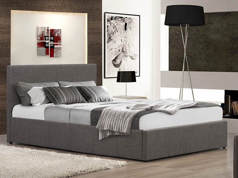 Birlea Berlin Fabric Ottoman 3\' Single Fabric Grey Ottoman Bed Image0 Image