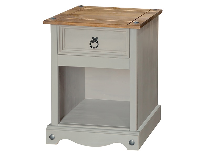 Brazil Grey 1 Drawer Bedside Cabinet Main Image