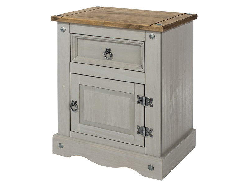 Brazil Grey 1 Door 1 Drawer Bedside Cabinet Main Image