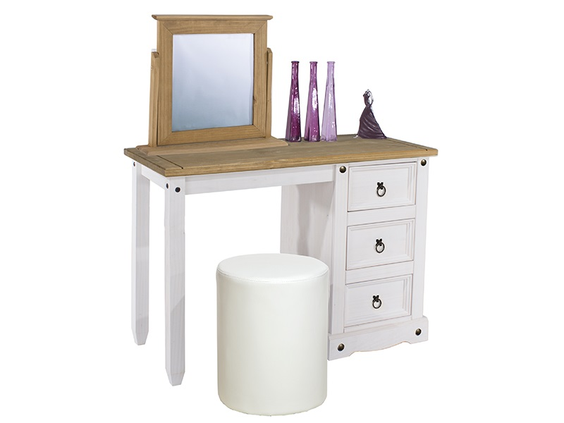 Furniture Express Brazil White Single Pedestal Dressing Table Dressing Table Image0 Image