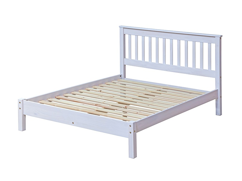 Furniture Express Brazil White Slatted Lowend 3\' Single Wooden Bed Image0 Image