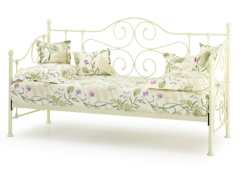Serene Furnishings Florence Day Bed 3\' Single Glossy Ivory Day Bed Metal Bed Image0 Image