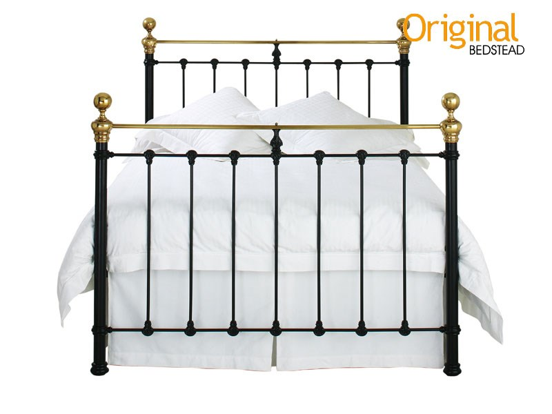 Original Bedstead Co Hamilton 4\' 6 Double Glossy Ivory & Antique Brass Headboard Only Metal Headboard Image0 Image