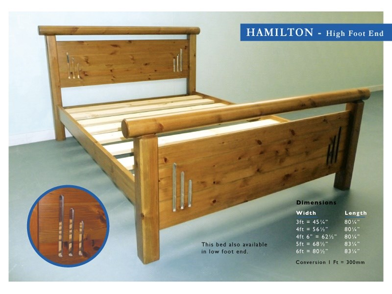Windsor Hamilton 3\' Single Antique Wax High Foot End Wooden Bed Image0 Image