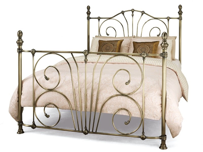 Serene Furnishings Jessica 4\' 6 Double Satin Nickel Metal Bed Image0 Image