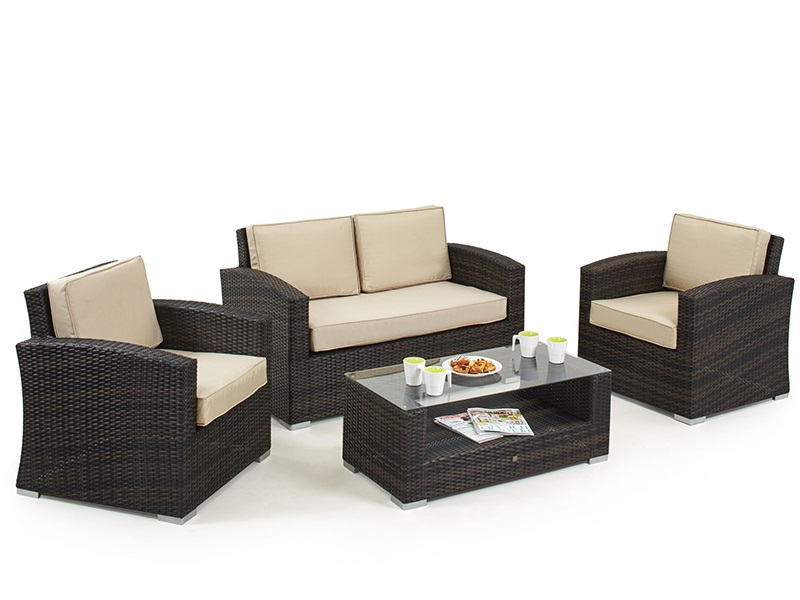 Maze Rattan Kingston 2 Seat Sofa Set Brown Rattan Sofa Set Image0 Image