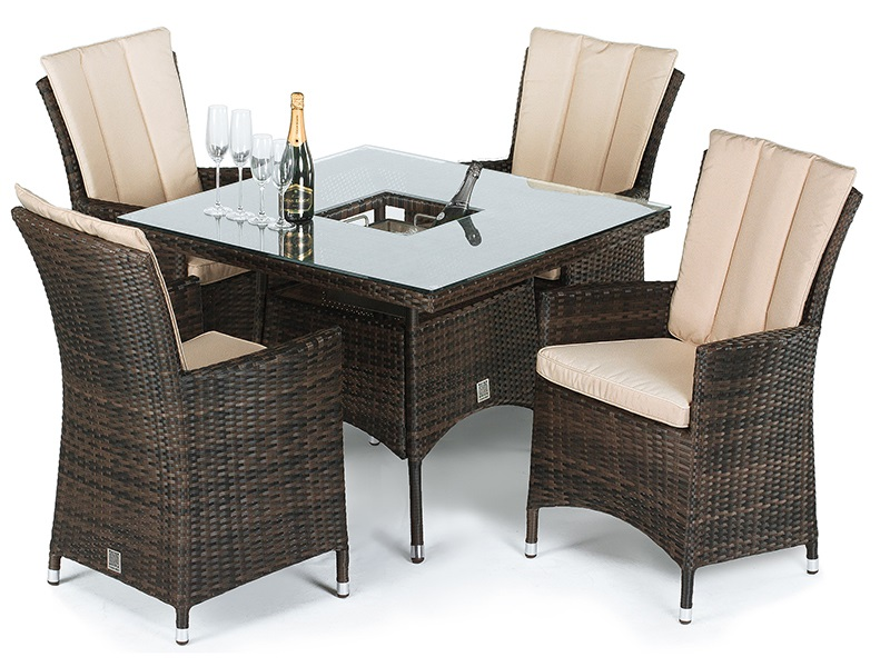 Maze Rattan LA 4 Seat Square Dining Set with Ice Bucket Brown Rattan Dining Set Image0 Image