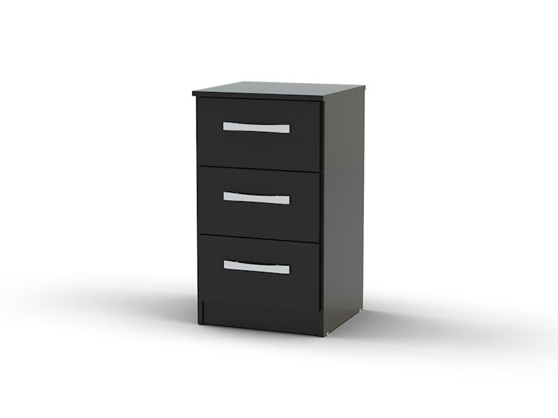 Lynx 3 Drawer Bedside Black Main Image