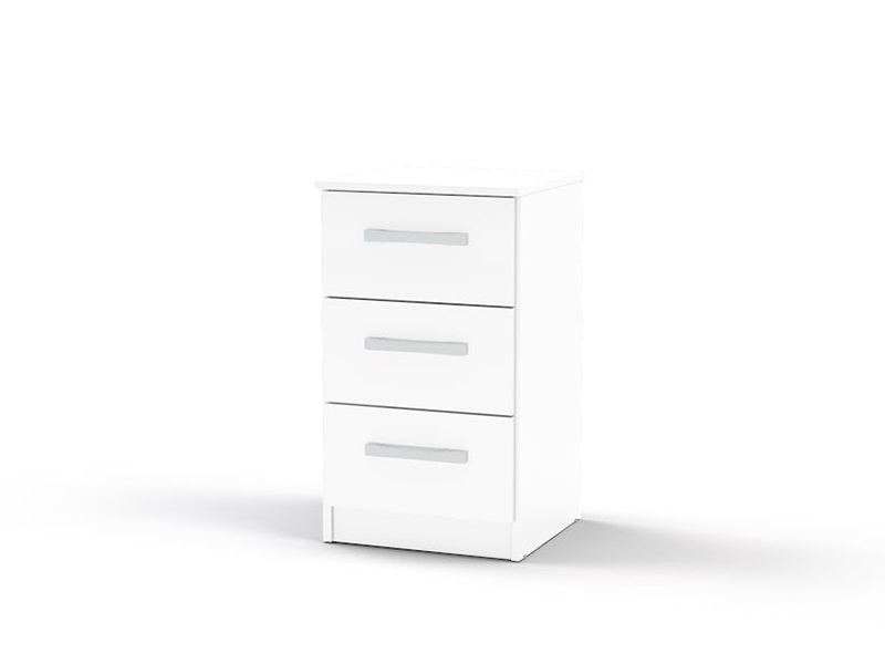 Birlea Lynx 3 Drawer Bedside White Flat Packed Bedside Chest Image0 Image