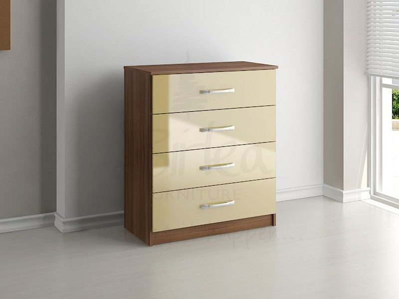 Lynx 4 Drawer Chest Walnut and Cream Main Image