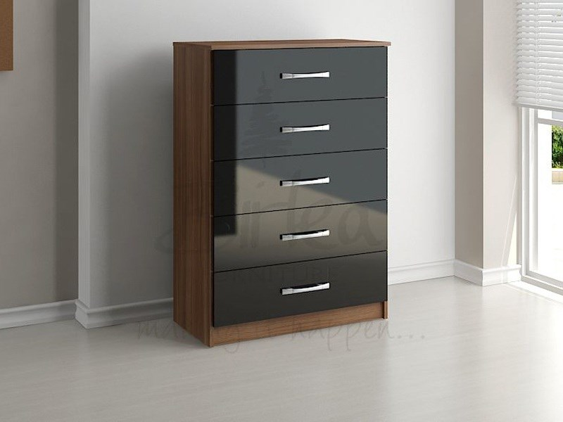 Lynx 5 Drawer Chest Walnut and Black Main Image