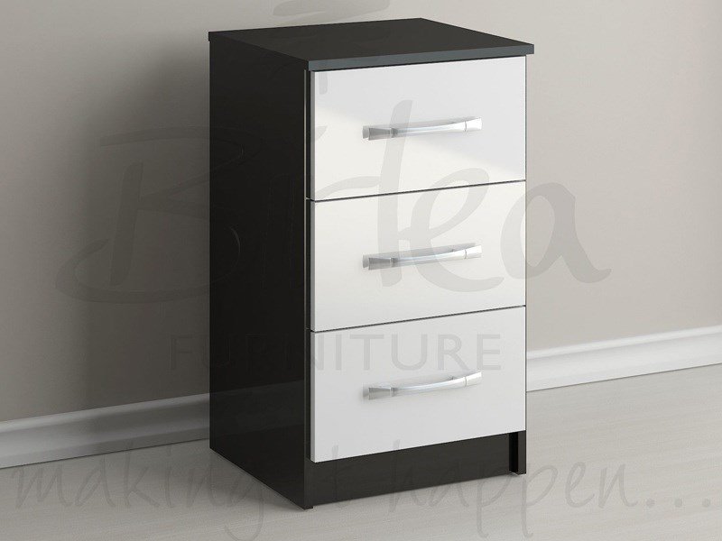 Lynx 3 Drawer Bedside Black and White Main Image