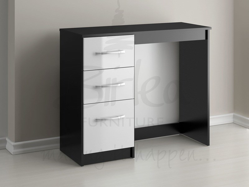 Lynx 3 Drawer Dressing Table Black And White Main Image