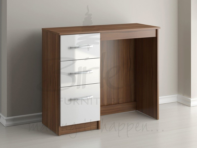 Lynx 3 Drawer Dressing Table Walnut And White Main Image