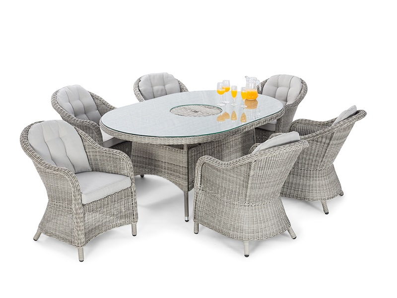 Maze Rattan Oxford 6 Seat Oval Fire Pit Dining Set with Heritage Chairs Dining Set Image0 Image